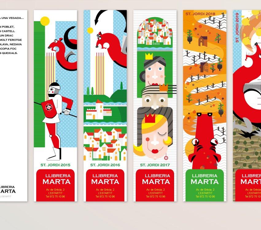Comunicació gràfica: punts de llibre per a campanya de Sant Jordi